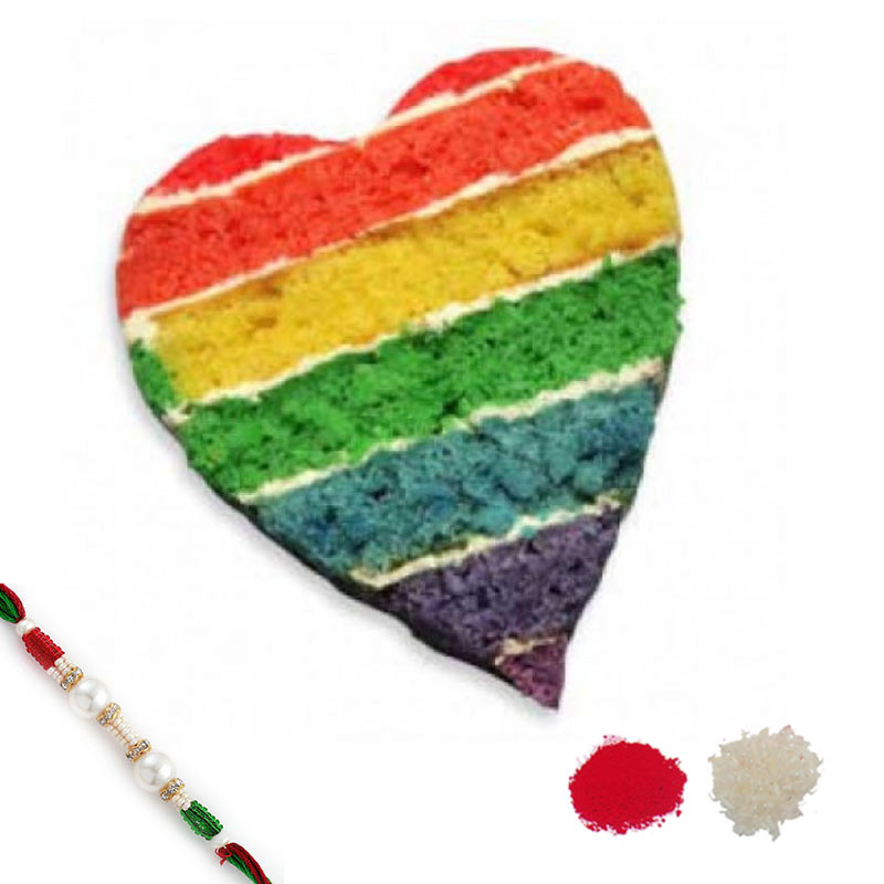 Heart Shape Rainbow Cake with Rakhi