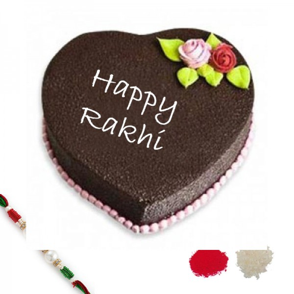 5 Star Heart Shape Chocolate Cake with Rakhi