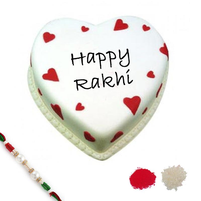 1 Kg Eggless Heart Shape Vanilla Cake with Rakhi