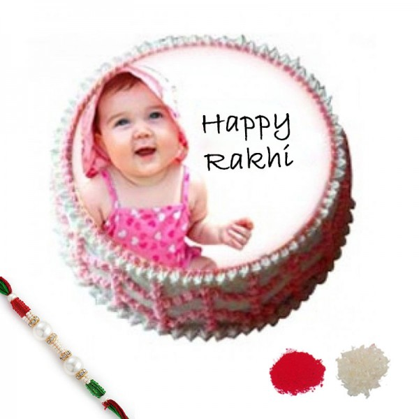 1 Kg Eggless Photo Printed Cake with Rakhi