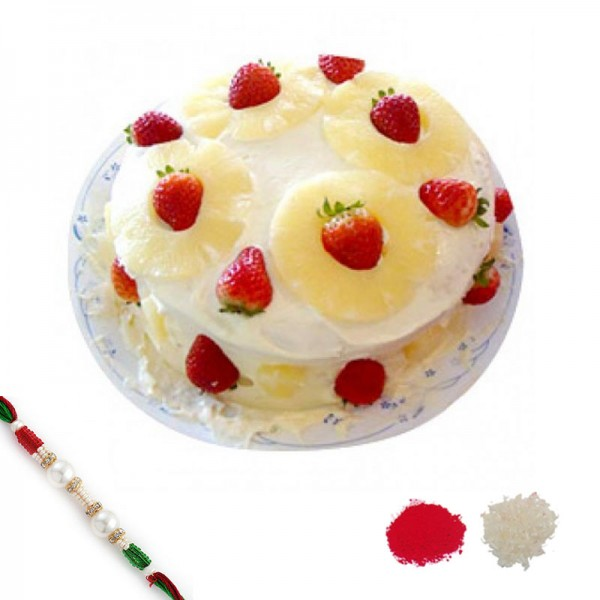 Pineapple n Strawberry Cake Rakhi Hamper