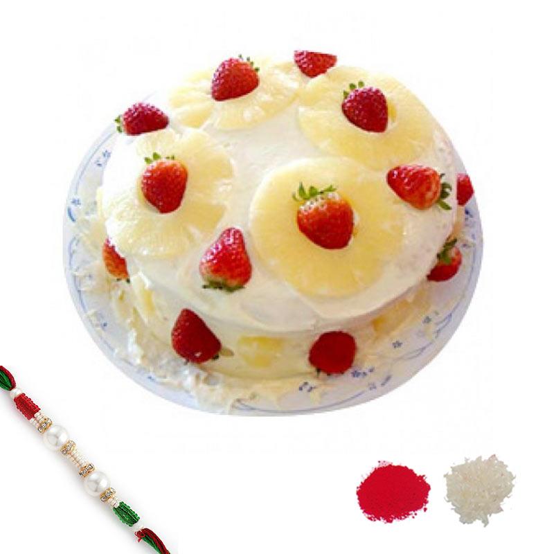 Pineapple n Strawberry Cake Rakhi Hamper