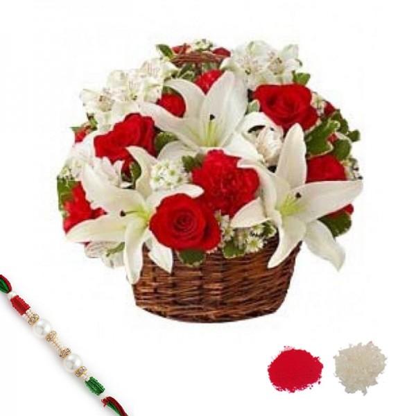 Blooming Basket with Rakhi