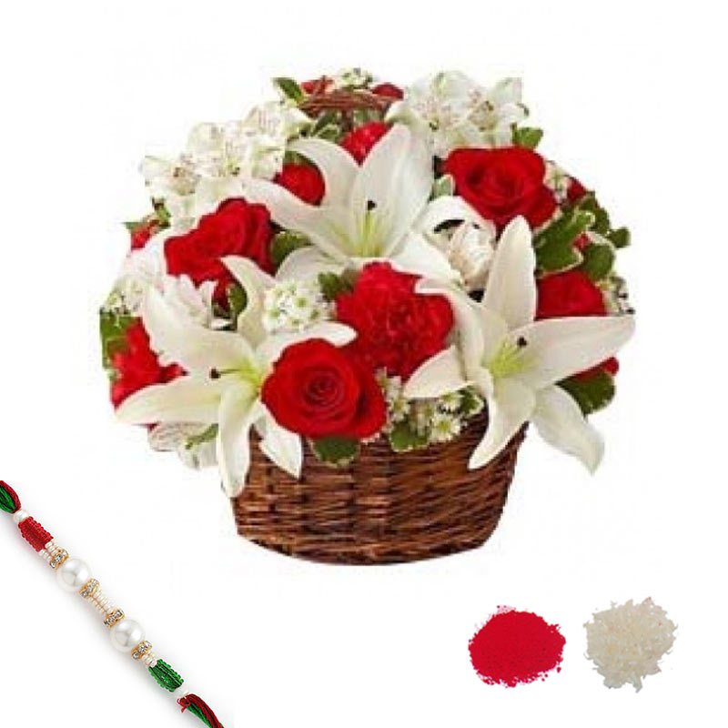 Blooming Basket with Rakhi