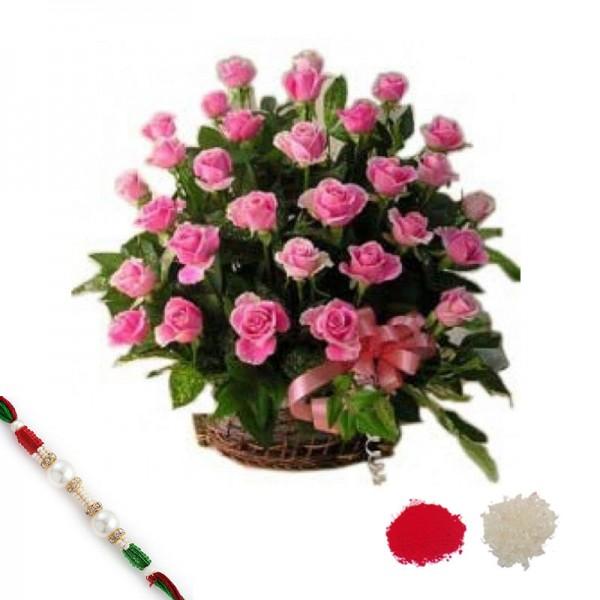 Pink Beautiful Basket with Rakhi