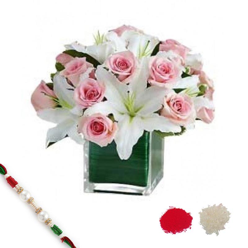 Lilies n Roses with Rakhi