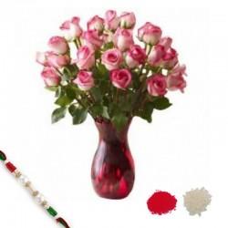 18 Pink Roses with Rakhi