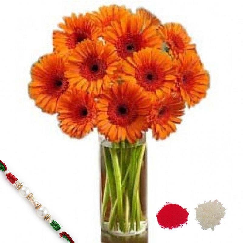 Orange Happy Gerberas with Rakhi