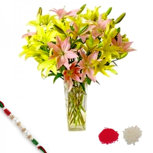Rakhi with Yellow and Pink Lilies