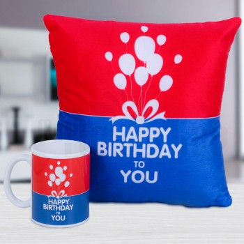 Happy Birthday Combo of Mug and Cushion