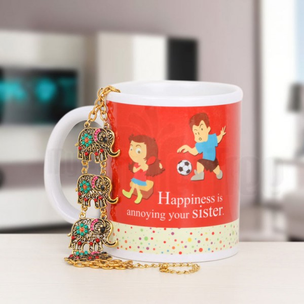 Printed Mug for Sister with Designer Bracelet