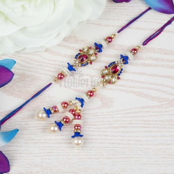 Blue Pink Ruby Rakhi Set