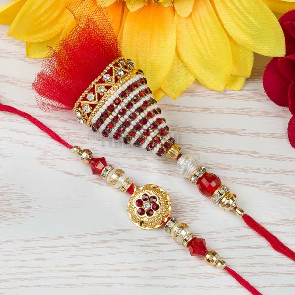 Red Ruby Rakhi Set