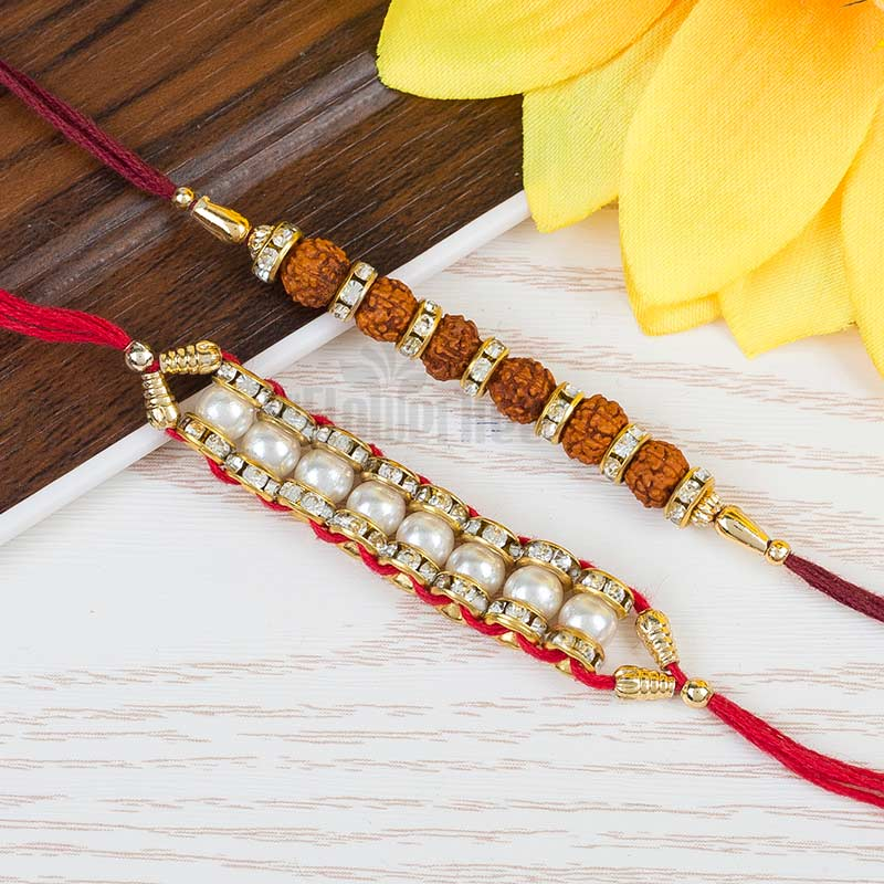 Rudraksh And Pearl Rakhi Set
