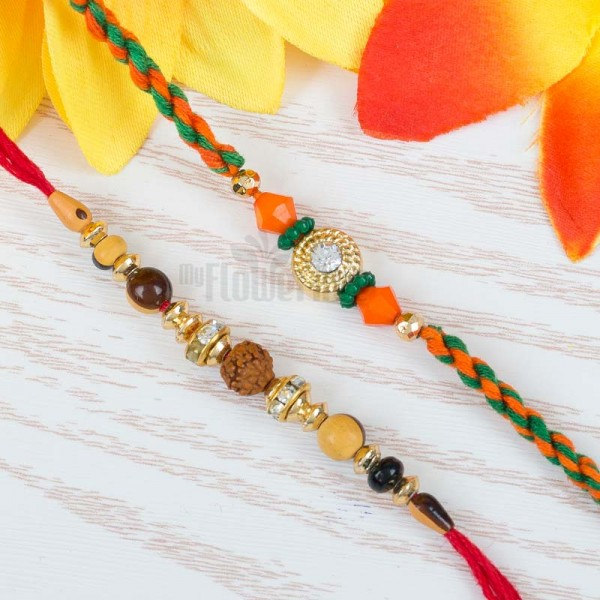Single Rudraksh And Orange Rakhi Set