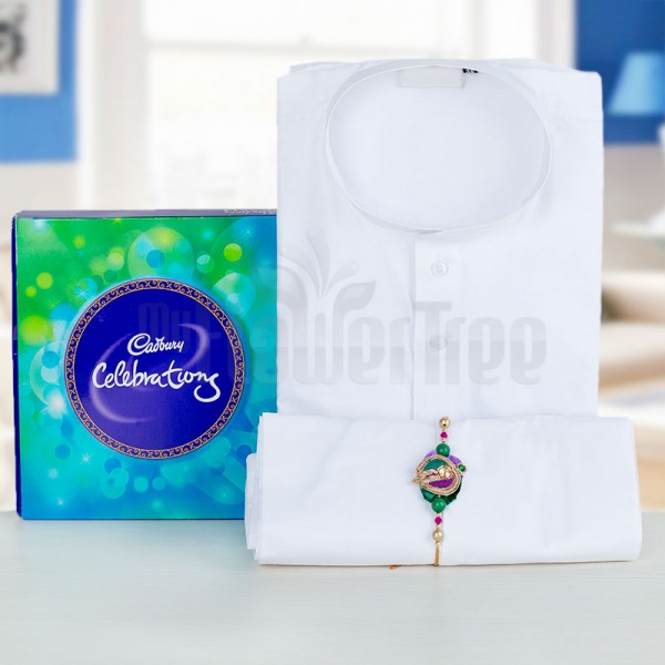 Cadbury Celebration Pack with White Kurta Pajama and Rakhi