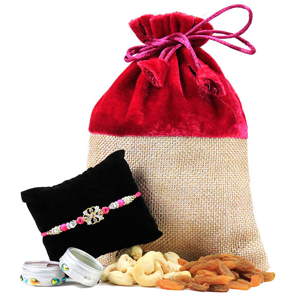 Beautiful Rakhi and Dryfruits Hamper