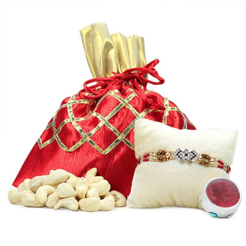 Traditional Rakhi and Cashews Hamper