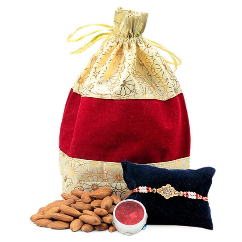 Almonds and Beautiful Rakhi Hamper