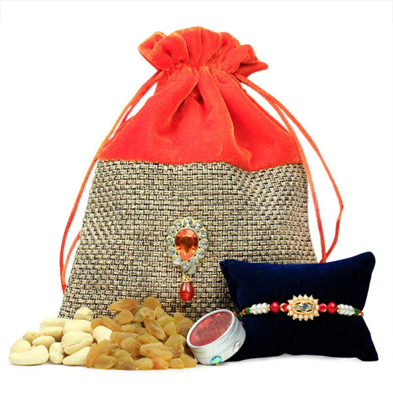 Dryfruits and Beaded Rakhi Hamper
