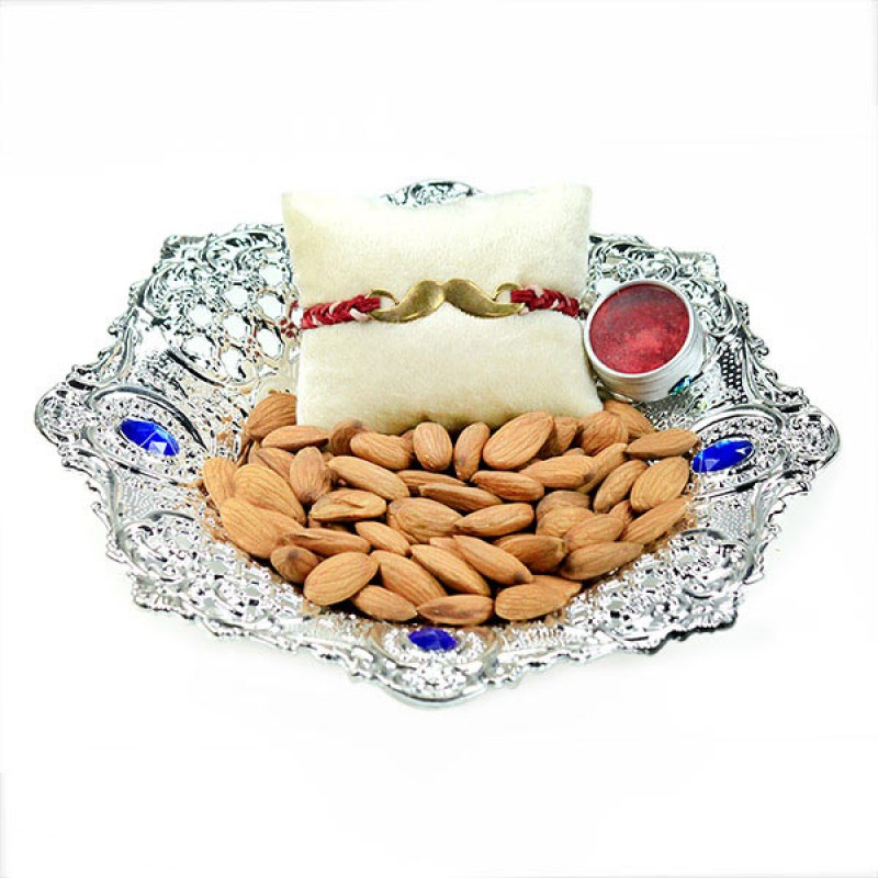 Moustache Rakhi and Almonds Hamper