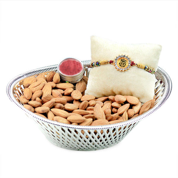 Ganesha Rakhi and Almonds Hamper