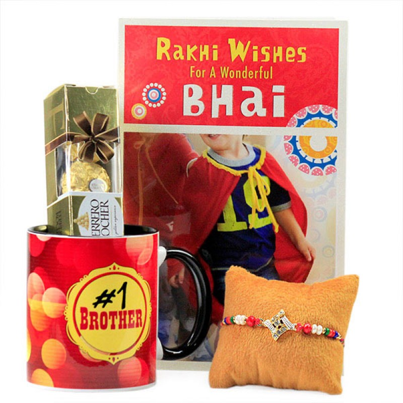 No 1 Brother Mug with Beautiful Rakhi