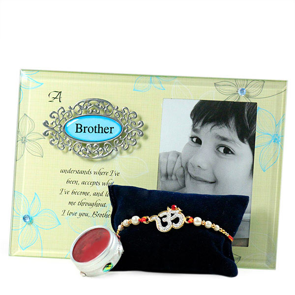 Om Rakhi n Brother Photo Frame