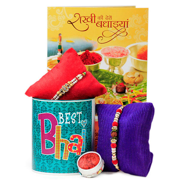 Best Bhai Mug with Traditional Rakhis