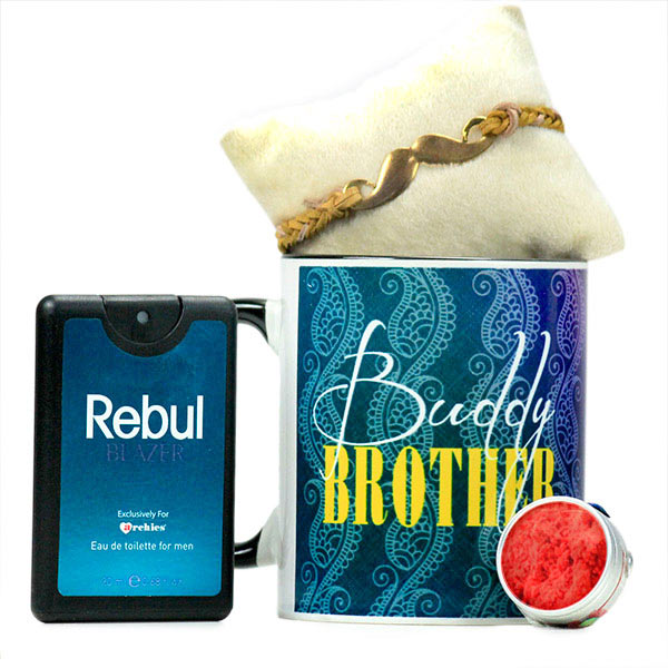 Buddy Brother Mug n Moustache Rakhi