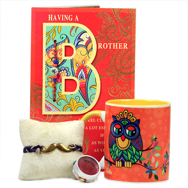 Owl Mug with Moustache Rakhi Hamper
