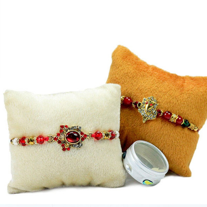 Stone Embellished Rakhi Set