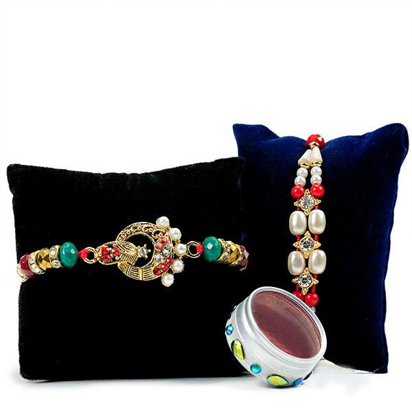 Beautiful Beaded Rakhi Set