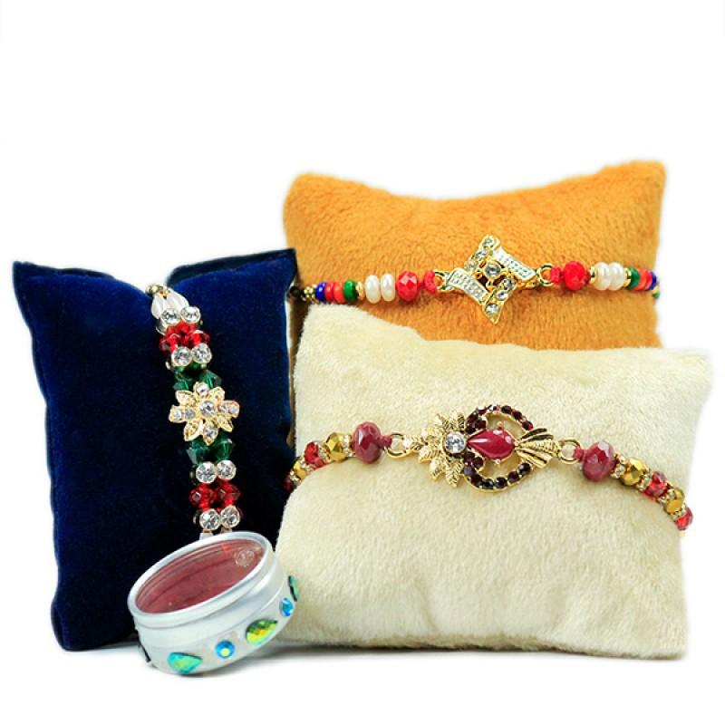 Set of 3 Embellished Rakhis