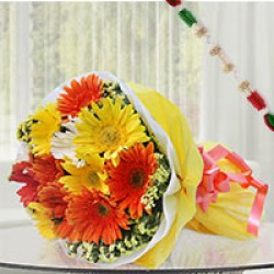 Sameday Delivery Rakhi with Flowers