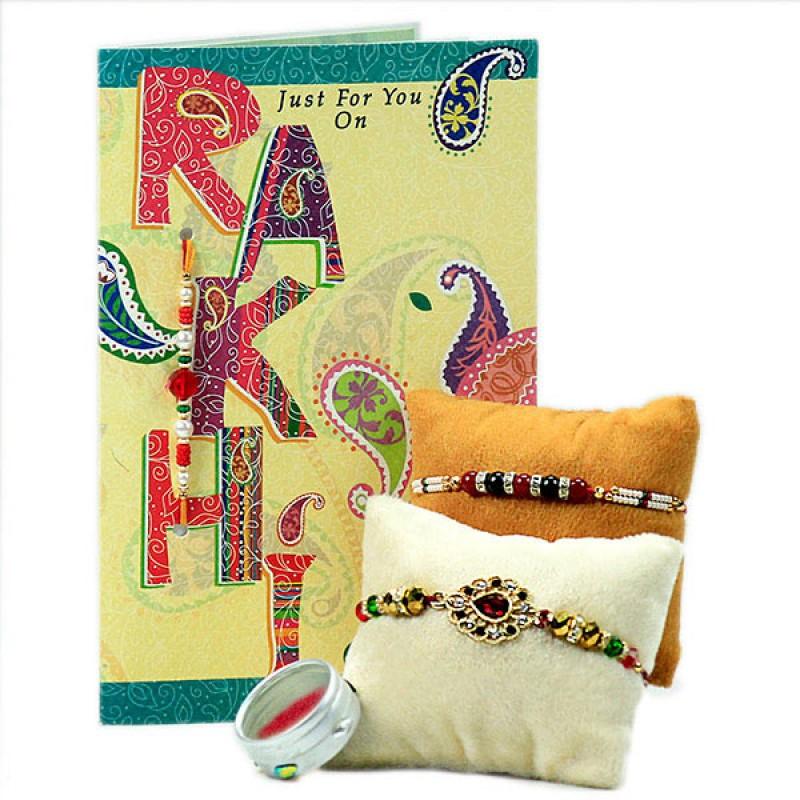 Beautiful Rakhis with Greeting Card