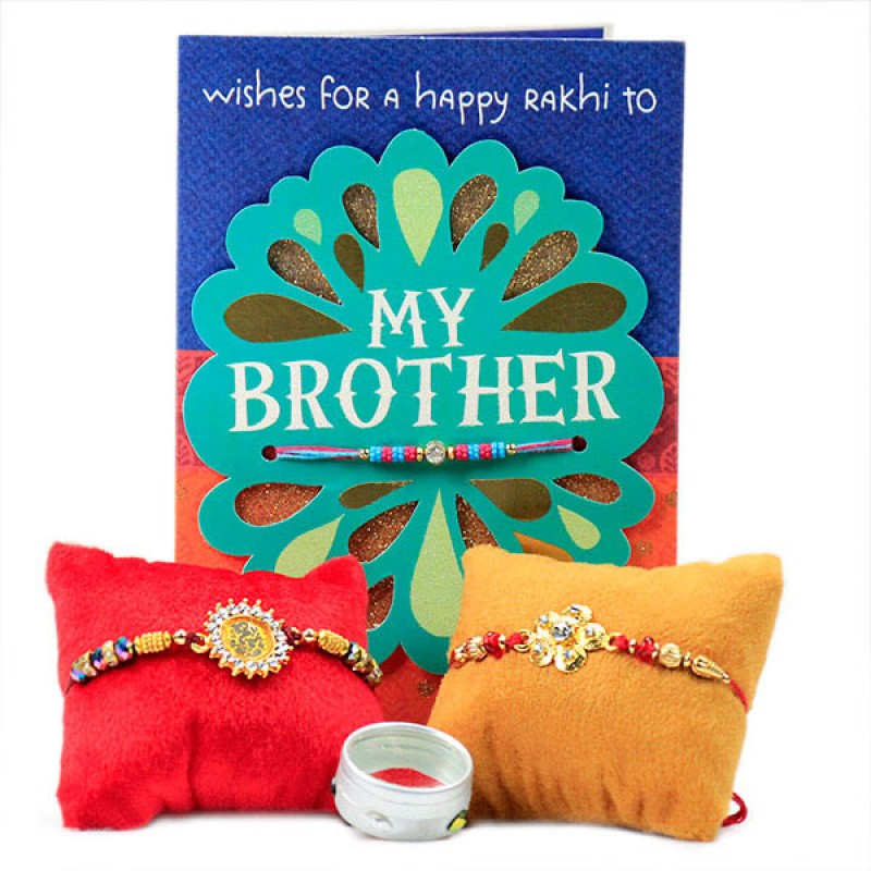 Set of 2 Traditional Rakhis with Card