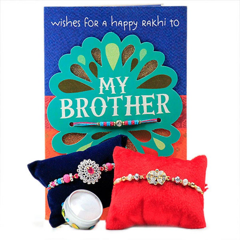 Set of 2 Beaded Rakhis with Card