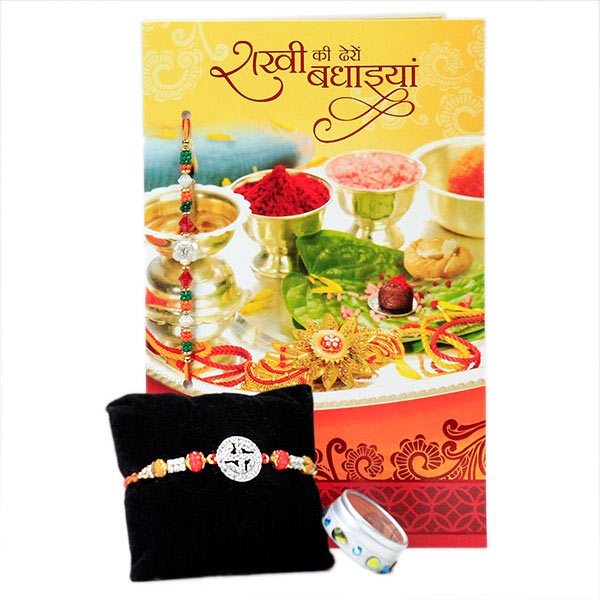 Elegant Swastika Rakhi with Card