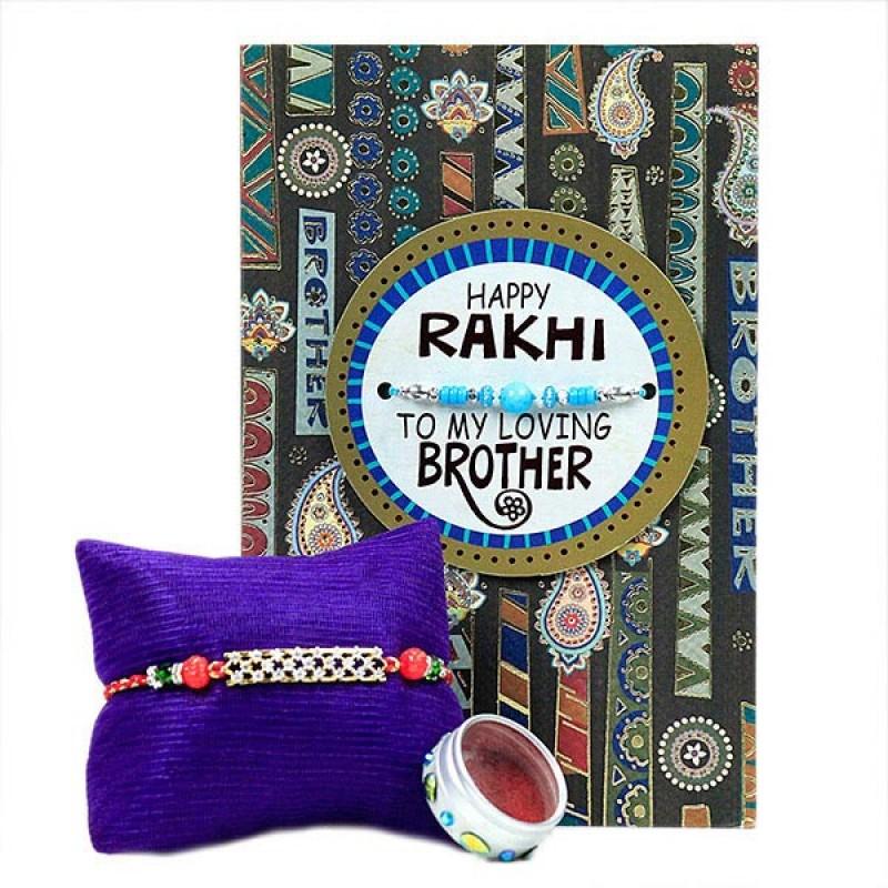 Beautiful Rakhi with Greeting Card