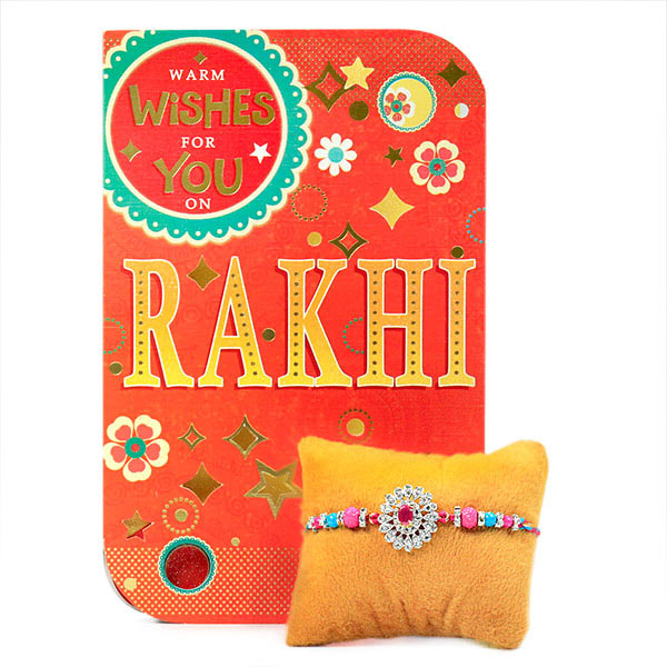 Traditional Floral Rakhi with Card