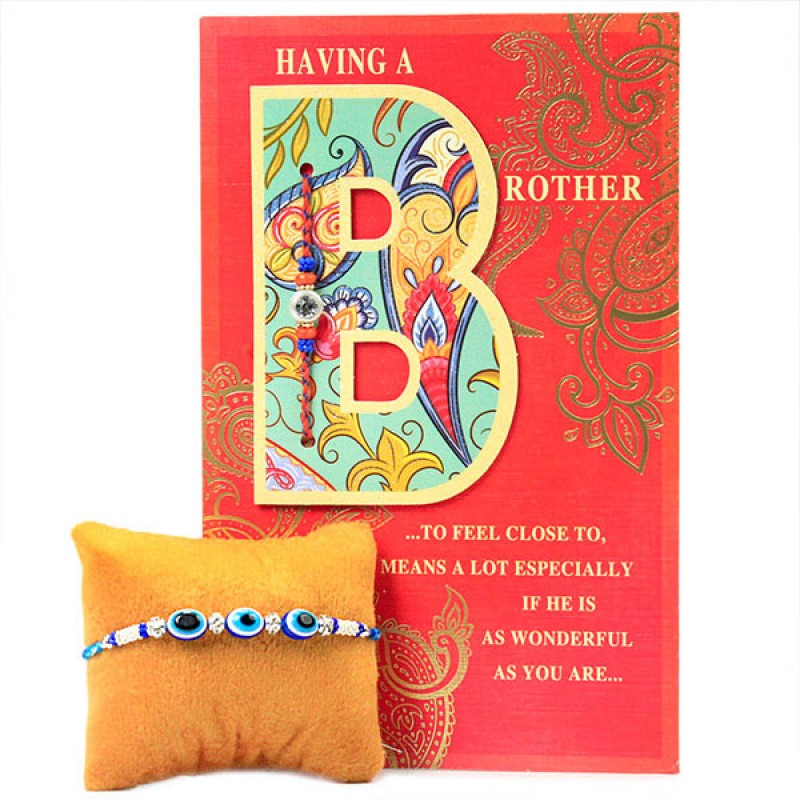 Evil Eye Traditional Rakhi with Card
