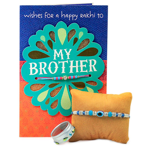 Beaded Evil Eye Rakhi with Card