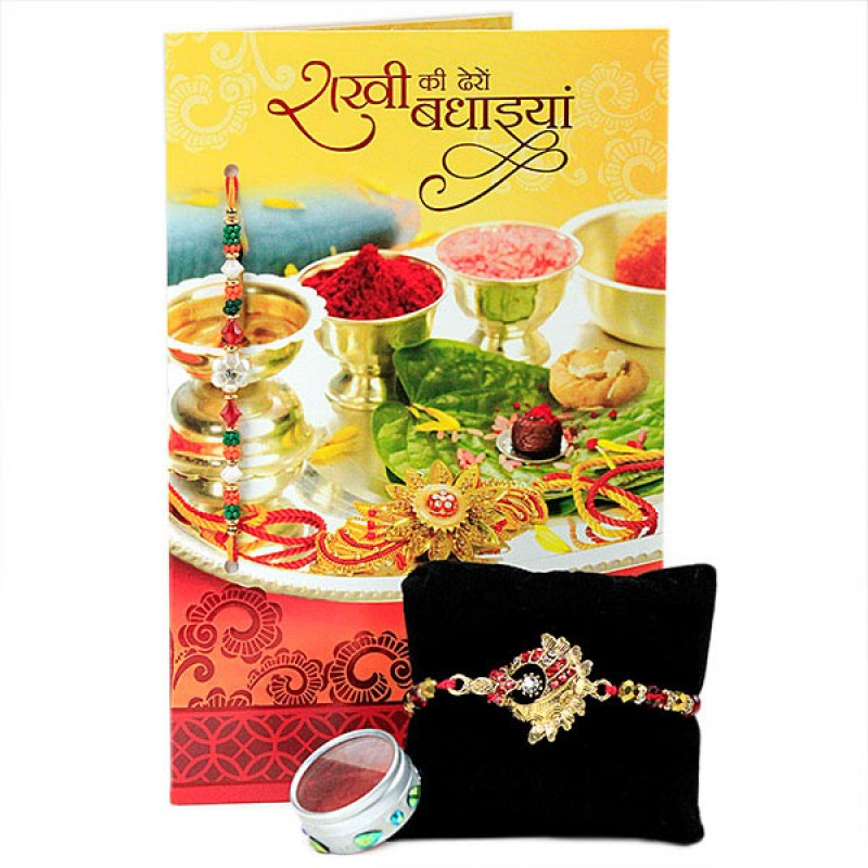 Traditional Rakhi with Greeting Card