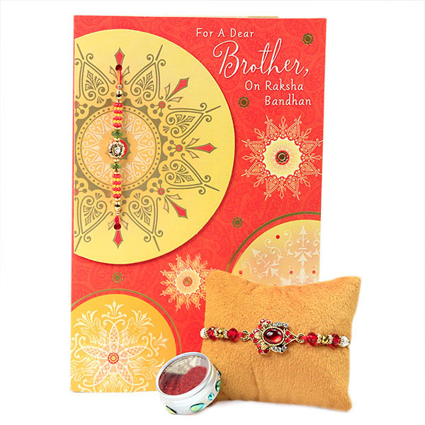 Embellished Rakhi with Greeting Card