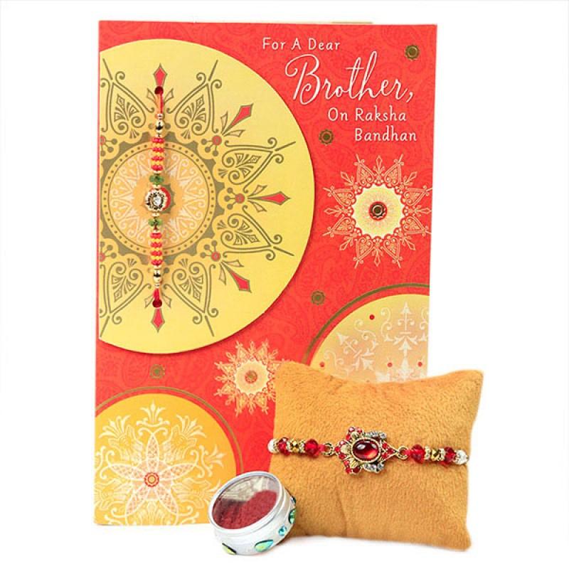 Embellished Rakhi with Greeting Card