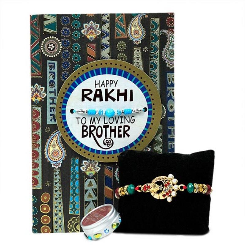 Beautiful Rakhi n Greeting Card Hamper