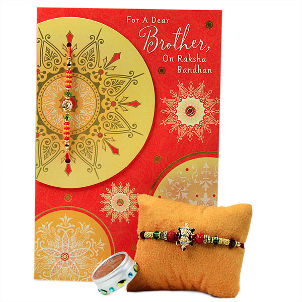 Beautiful Beaded Rakhi with Card
