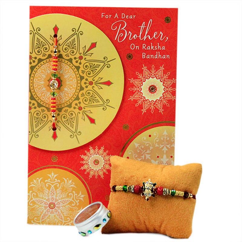 Beautiful Beaded Rakhi with Card
