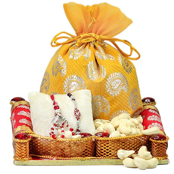 Cashews n Traditional Rakhis Hamper
